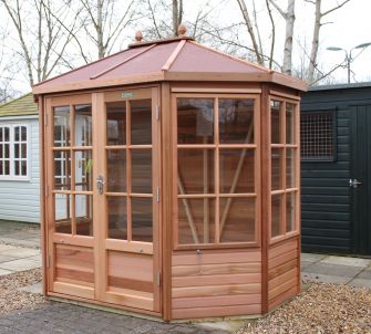 Alton Chatsworth cedar summerhouse 8ft x 6ft (2.4m x 1.8m) with red felt roof