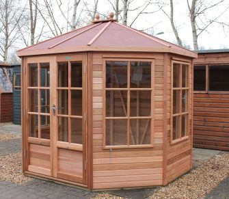 Alton Mickleton cedar summerhouse 8ft x 9ft (2.4m x 2.7m) with red felt roof