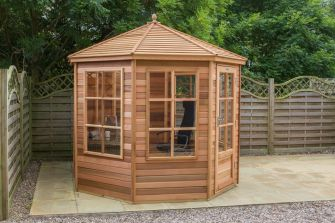 Alton Tetbury cedar summerhouse 8ft x 8ft (2.4m x 2.4m) with cedar slatted roof