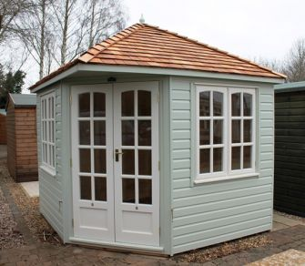 Cambridgeshire Corner 99 Summerhouse 8ft 8in x 8ft 8in (2.6m x 2.6m) painted finish & cedar roof