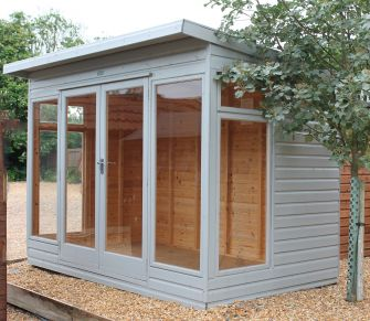 Ely Summerhouse 10ft x 6ft (3.05m x 1.8m) with top opening side windows and grey woodstain finish