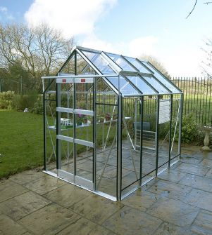 Elite GX600 6'3 x 8'5 in plain aluminium with black bar capping and toughened glass, diamond shelving and staging