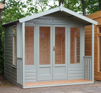 Newmarket Summerhouse 8ft x 6ft (2.4m x 1.8m) with a 2ft (0.6m) veranda & slatted timber floor, in a coloured stain finish