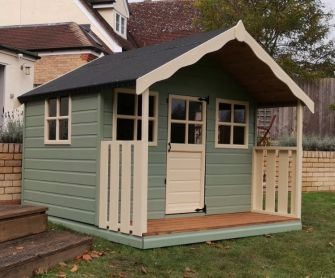 Wendy house 7ft x 5ft (2.1m x 1.5m) with 7ft x 2ft  (2.1m x 0.6m) veranda in painted finish.